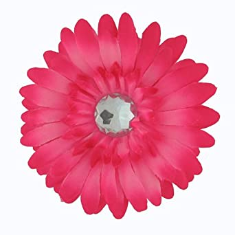 Amazon large gerber daisy flower hair clip bow with crystal gerber daisy flower hair clip bow with crystal center for infant baby toddler to youth girl hot pink infant and toddler hair accessories clothing mightylinksfo