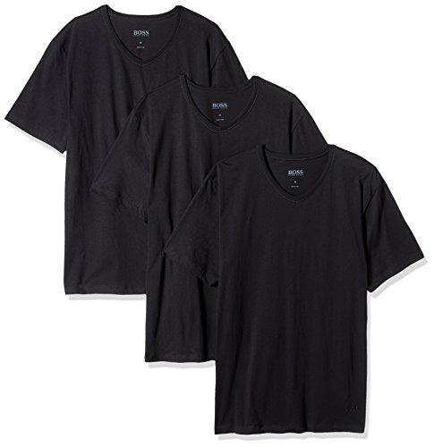Hugo Boss BOSS Men's 3-Pack V-Neck Regular Fit Short Sleeve T-Shirts, Black, - Boss T-shirt Crew