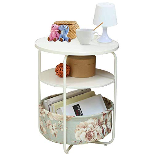 1208S 3 Tier Round Side Table End Table with Fabric Storage Basket for Small Spaces Bedroom Living Room, White/Green ()