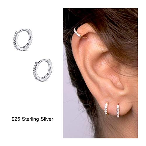 Diamond Small Huggies Earrings - 925 Sterling Silver Hoop Earrings Cubic Zirconia Cartilage Earring for Women Girls Small Huggie Piercing Earings Tiny Ear