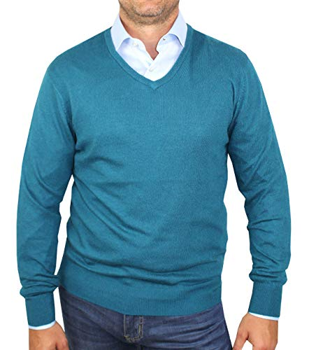 Cuello Redondo Prendas En De 1st Verde Hombre Larga Azulado Suéter E Pulòver Viscosa American Cashmere Punto Manga fFqfIXcp