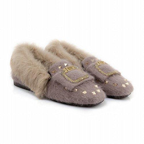 Mocassino Da Donna In Eco-pelliccia Tempestato Di Mocassini Invernali Con Scarpe Beige