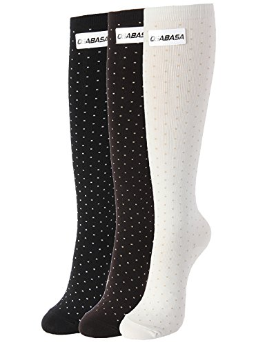 Dots Knee High - OSABASA Womens Dot Pattern Knee High Socks 3Pairs 1 Set Pack with Multi Colors SET1 Asia M (KWMS0175)