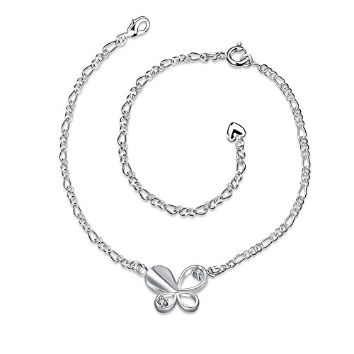 (Filigree Butterfly Anklets for Women Jewelry Chain with Drop Tassel Ankle Bracelet)