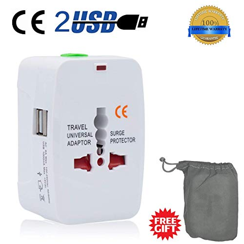 Adaptador de Viaje Internacional Universal All In One Power AC Cargador for us UK aus EU Multi Socket Outlet Plugs con 2...