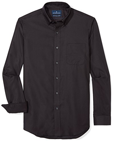 BUTTONED DOWN Men's Classic Fit Supima Cotton Button-Collar Dress Casual Shirt, Black, 15-15.5