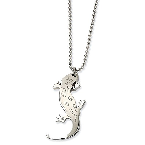 - ICE CARATS Stainless Steel Lizard Cubic Zirconia Cz Chain Necklace Pendant Charm Animals/Insect Fashion Jewelry Gifts for Women for Her