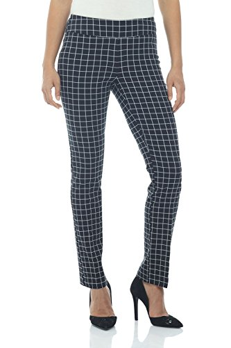 Rekucci Women's Ease in to Comfort Straight Leg Pant with Tummy Control (14,Ink/White Check)