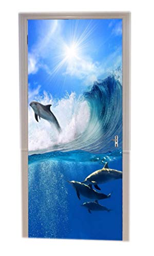 (A.Monamour Blue Ocean Sea Theme Dolphin Surfing On Waves Blue Sky Print Eco-Friendly Vinyl Room Door Decals Wallpaper Wall Murals Removable Door Stickers Posters DIY Art Decors for Home)