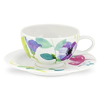 Portmeirion Water Garden Breakfast Cup and Saucer Set of 4 Multi