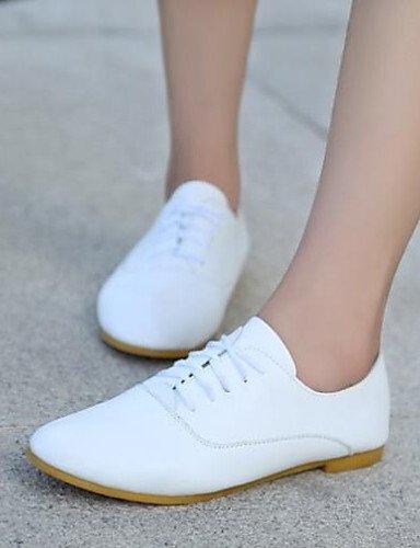 Textiles / Home ZQ 2016 Zapatos de Mujer - Tacón Plano - Comfort/Puntiagudos - Oxfords - Exterior/Casual - Semicuero - Negro/Azul/Rosa/Blanco, Pink-us8.5/eu39/uk6.5/cn40, Pink-us8.5/eu39/uk6.5/cn40 blue-us7.5 / eu38 / uk5.5 / cn38