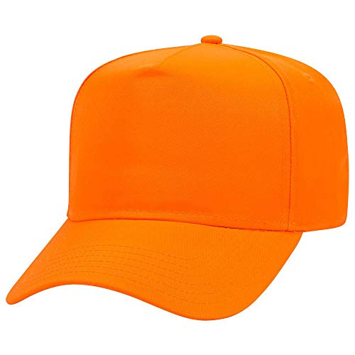 Armycrew 5 Panel Neon Color Polyester Twill Structured Baseball Cap - NEON Orange - 5 Panel Twill Structured Cap