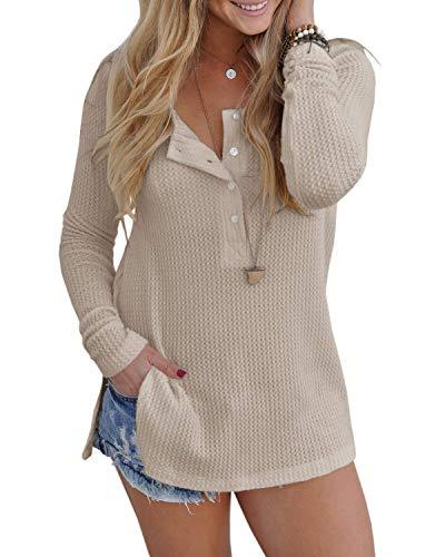 Inorin Womens Henley Blouse Fall Button Down Pullover Knit Long Sleeve Lightweight Shirts (Light Sweater Top)