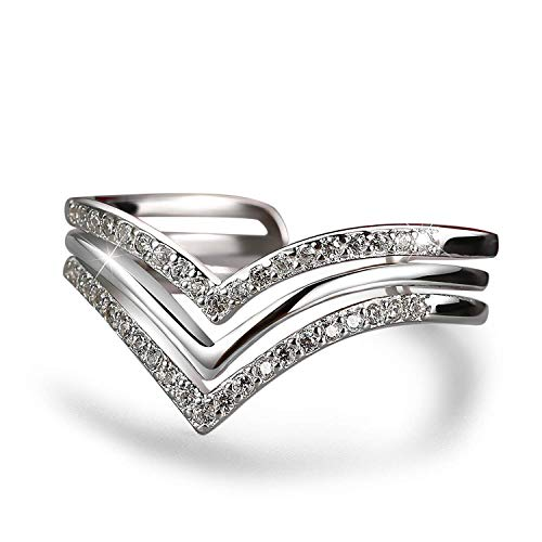 Madeone ✦18K White Gold Plating Excellent Cut Cubic Zirconia CZ Stone Wave Chevron Adjustable Wedding Ring for Women with Box Packing (White Gold)