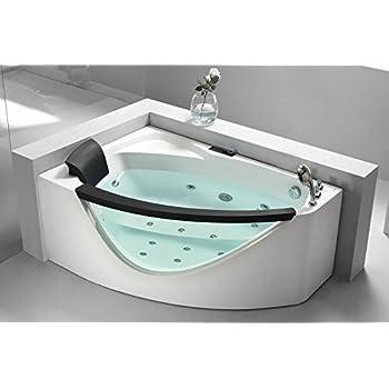 Eago Am198 R 5 Feet Right Drain Rounded Modern Corner Whirlpool Bath Tub With Fixtures Clear