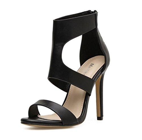 Zapatos Party Stiletto Cremallera Marrón Negro Linyi Hollow Evening Moda Black Pu Heels De Artificial Mujer ATwdq1