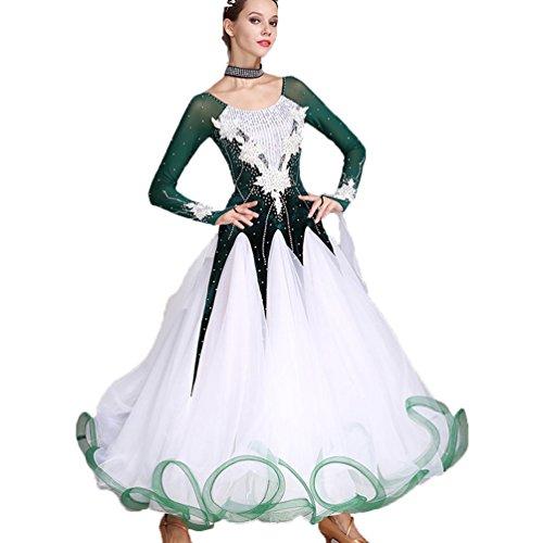 Pour xxl Robe Sociale Nationale Femmes Grande Performance Danse Darkgreen Moderne Valse Wqwlf Concours Robes Balançoire Bal Costume De YbWH2Ie9ED