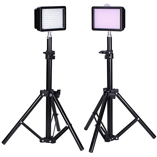 Bestlight® Photography 160 LED Studio Lighting Kit, including (2)Ultra High Power 160 LED Video Light Panel Digital Camera DSLR Camcorder LED Video Light (2)32''/80cm Tall Photography Mini Light Stand by Bestlight