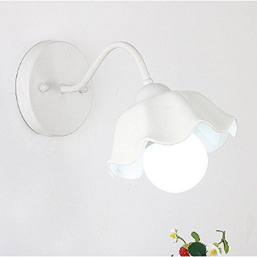 Mobeka Pastoral Ceramic Wall Lamp Three Color ChangingLight LED Modern Minimalist Bedroom Bedside Wall Light (Color : White) by Mobeka