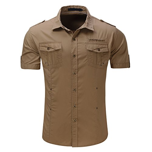Khaki Shirts Military (HULANG Mens Vintage Military Short Sleeve Button Down Dress Shirt with Pocket (Khaki, Medium))