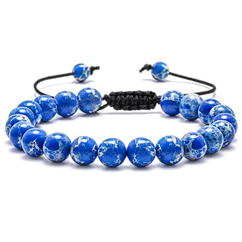 M MOOHAM Natural Stone Beads Bracelet, 8mm Natural Regalite Stones Beads Bracelet, Men Women Stress Relief Yoga Beads Adjustable Bracelet Energy Stone Semi-Precious Gemstone Beads - Blue Stone Beads
