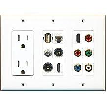 RiteAV - (3 Gang) 15A Outlet 2 HDMI Coax Cat5e Component RCA 2 Toslink USB Wall Plate