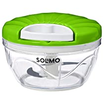 Amazon Brand - Solimo 500 ml Vegetable Chopper with 3 Blades, Green