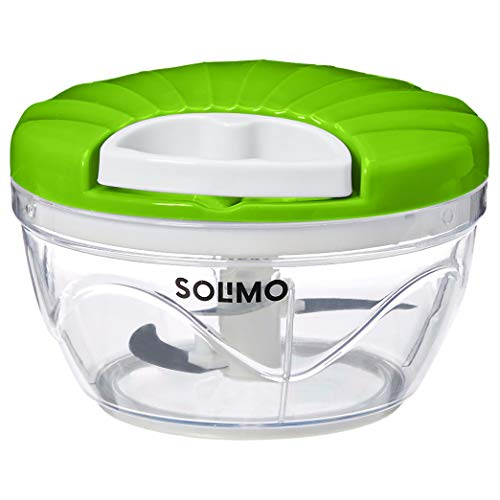 Amazon Brand – Solimo 500 ml Large Vegetable Chopper with 3 Blades, Green