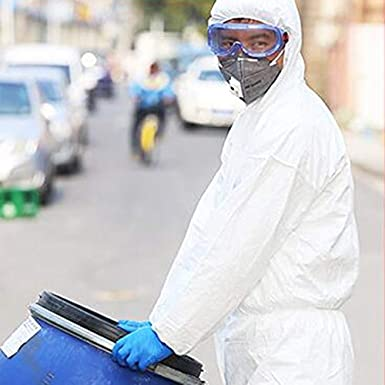 HZTWS Traje de protección química con capucha de una pieza ...