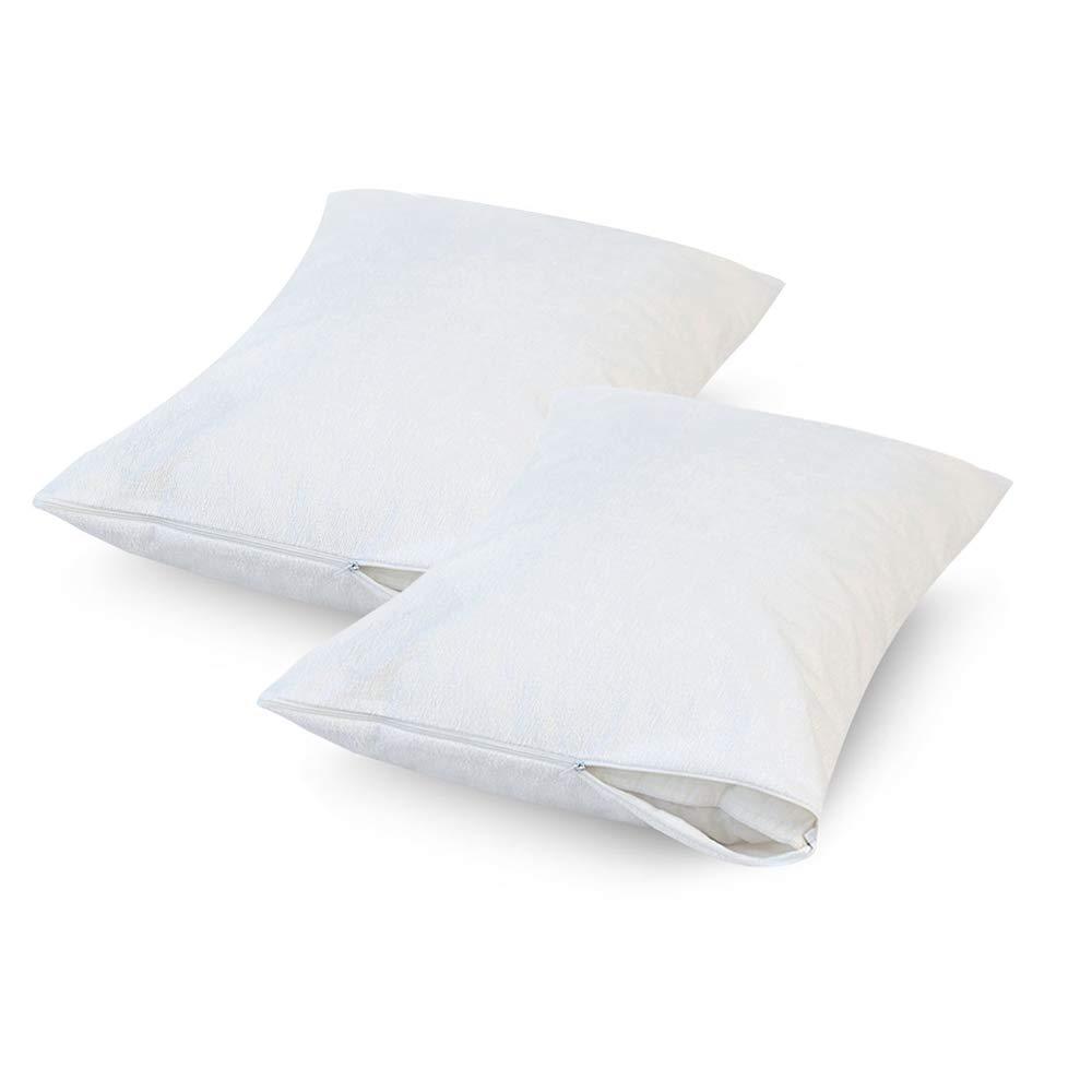 Bedecor Set of 2 Premium Hypoallergenic Bed Bug Proof Zippered Waterproof Pillow Protector Standard Size(21'' x 27'')