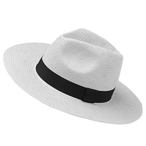 Janey&Rubbnis Summer Handmade Wide Brim Classic Fedora Natural Straw Panama Sun Hat (Medium (7 1/8~7 1/4) 58cm, White)
