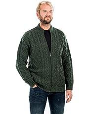 SAOL 100% Irish Merino Wool Men's Zipper Cable Knit Winter Warm Cardigan Sweater with Pockets in Charcoal/Army Green