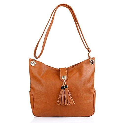 Top Designer Handbag - Korjo Women Fashion Handbag Leather Shoulder Bag Designer Purses Ladies Tote Bags (Brown)