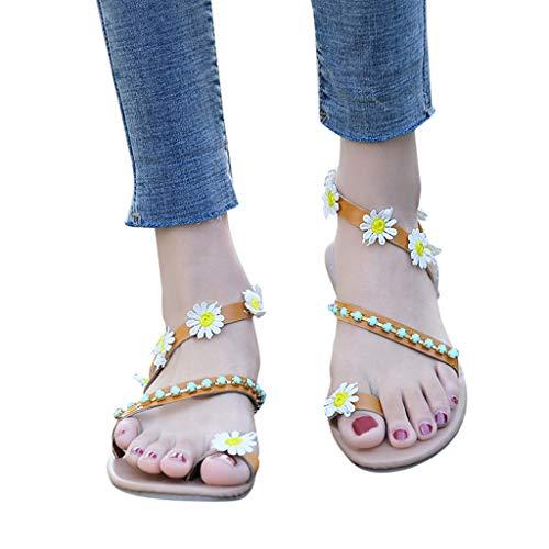 (Women Bohemia Sandals Clearance Sale, NDGDA Flower Decoration Sandals Flats Slip On Shoes Sandals)