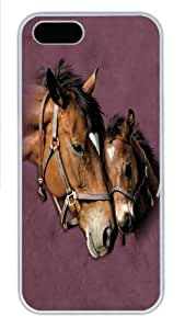 iPhone 5S Case, iPhone 5S Cases -Two Hearts Horse Custom PC Hard Case Cover for iPhone 5/5S White