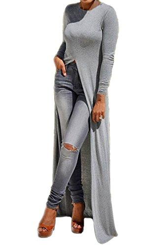 KAKALOT Women's Sexy Open Side Split Long Sleeve Long Tops Shawl Dress L Grey