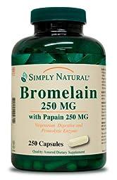 Simply Natural Bromelain 250 MG with Papain 250 MG, 250 capsules
