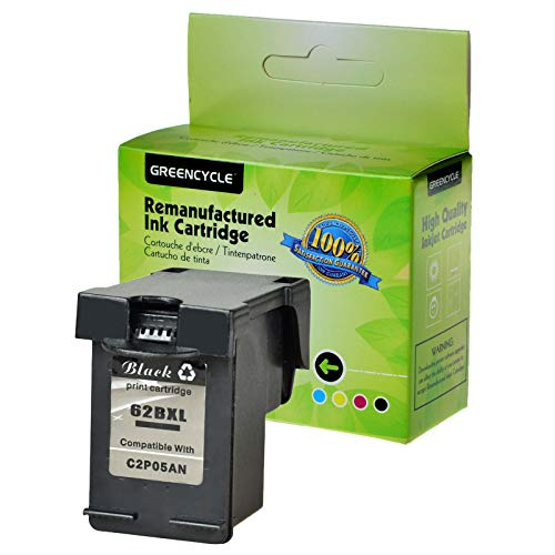 GREENCYCLE 1 Pack Remanufactured Ink Cartridge Compatible for HP 62XL 62 XL Black C2P05AN High Yield for HP Envy 5640 5642 5643 5644 5646 5660 7640 7645 OfficeJet 5740 5742 5745 Printer 600 Pages