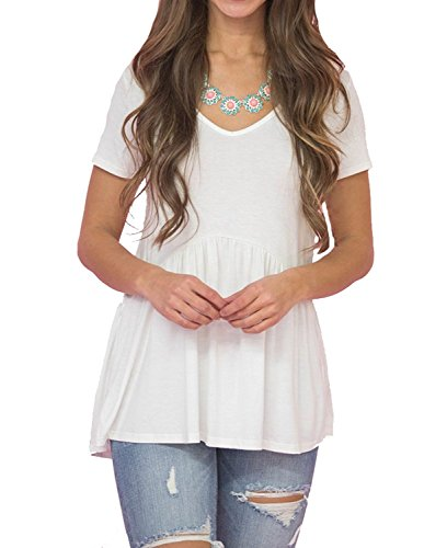 Inital Women's Tops Short Sleeve Draped Casual Loose Fit Flare Tunic Shirts,White,Medium