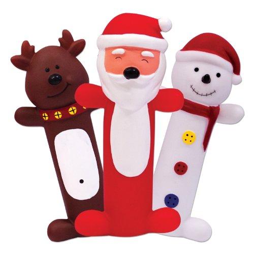 Set of 3 Novelty Squeaky Christmas Dog Toys SANTA CLAUS, REINDEER & SNOWMAN