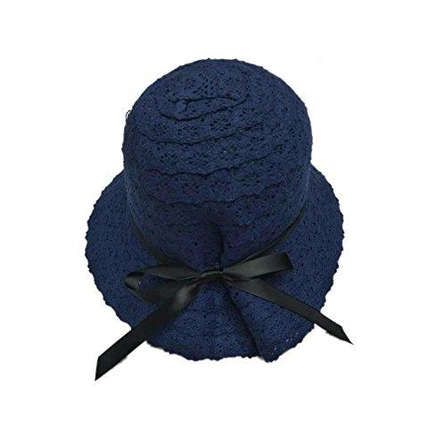 Bleu Chapeau De Bob Femme Dentelle Avec Papillon Soliel Voyage Foncé Mode Acvip Melon Noeud EA7T0qA