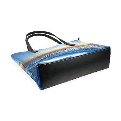 Main And Sac Sacs Pu Beach Muticolour Et Fourre Femmes Bandoulière tout Moyen À En Sea Sunset Cuir Water Pour Coosun Les Blue q6w7tF0