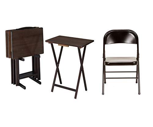 Mainstays 5-Piece Folding TV Tray Table Set, Walnut Bundle with Mainstays Steel Folding Chair, 4-Pack, Black