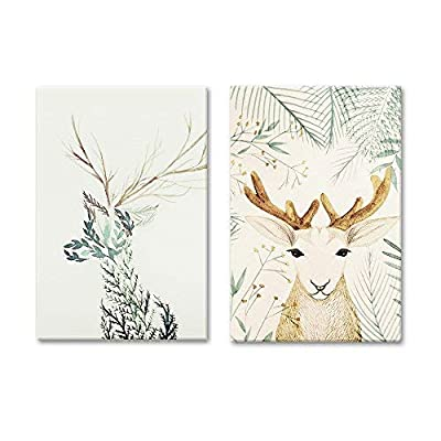2 Panel Deer with Floral Pattern x 2 Panels 16