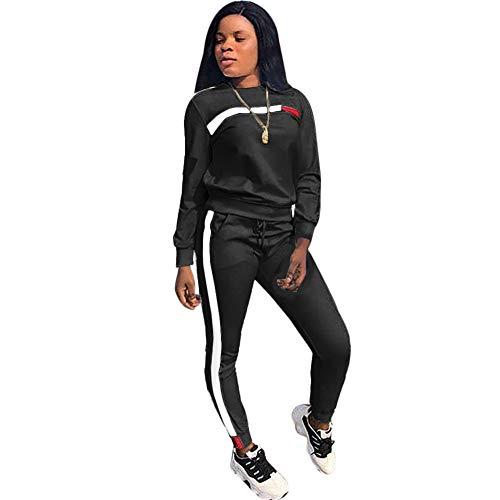 Women Sport Suits Active Top Bottom Sets Sweatshirt Pant 2 Piece Outfits Black