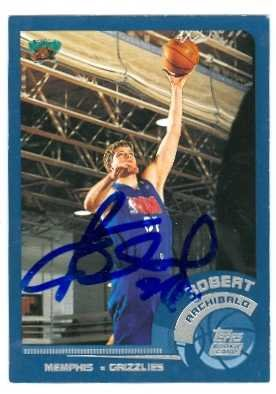 Archibald Autographed Basketball (Robert Archibald autographed Basketball Card (Memphis Grizzlies) 2002 Topps Rookie #214)