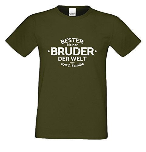 Bruder Geschenkeset Fun-T-shirt zu Weihnachten oder zum Geburtstag mit GRATIS Urkunde - Bester kleiner Bruder der Welt Farbe: khaki Gr: XL