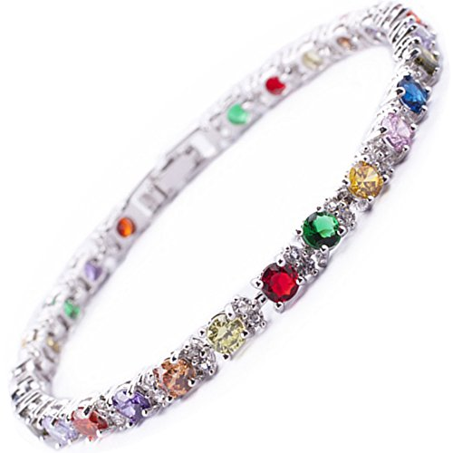 RIZILIA Round Multi-Color CZ and White Cubic Zirconia 18K White Gold Plated Tennis Bracelet, 7