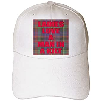 3dRose EvaDane - Funny Quotes - Ladies love a man in a kilt. Tartan. Green and Red. - Caps - Adult Baseball Cap