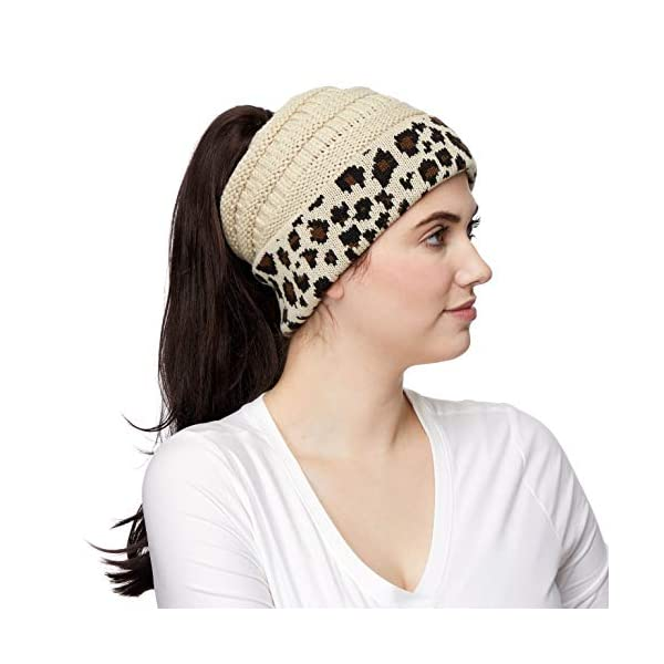 C.C Exclusives Soft Stretch Cable Knit Messy Bun Ponytail Beanie Winter Hat for Women (MB-20A)